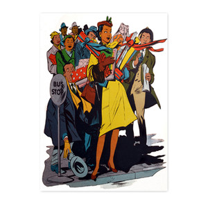 Afrotopia Invitations - Vintage Bus Stop - Package Of 10