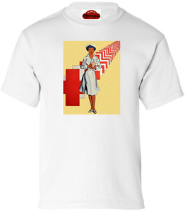 Afrotopia Girl's T-Shirt - Vintage Nurse - White