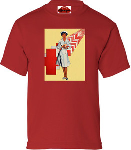 Afrotopia Girl's T-Shirt - Vintage Nurse - Red