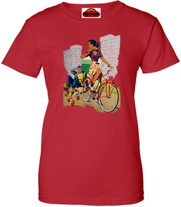 Afrotopia Women's T-Shirt - Vintage Bicycle - Red