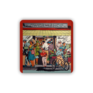Afrotopia Coasters - Vintage Flower Shop - Package Of 10