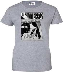 Vintage Black Heroines Women's T-Shirt - The Butterfly - 6 - Sport Grey