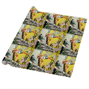 Afrotopia Wrapping Paper Sheets - Vintage Bird House - Package Of 5