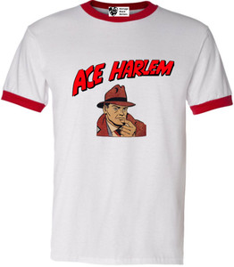 Vintage Black Heroes Men's T-Shirt - Ace Harlem - 1 - Red Ringer