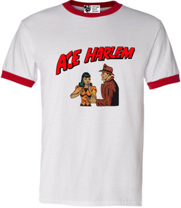 Vintage Black Heroes Men's T-Shirt - Ace Harlem - 7 - Red Ringer