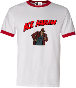 Vintage Black Heroes Men's T-Shirt - Ace Harlem - 10 - Red Ringer