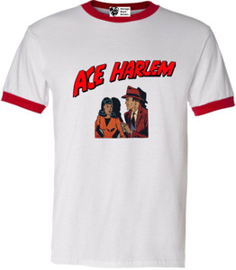 Vintage Black Heroes Men's T-Shirt - Ace Harlem - 11 - Red Ringer