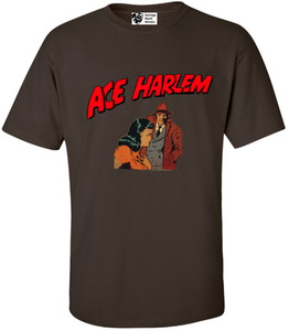 Vintage Black Heroes Men's T-Shirt - Ace Harlem - 15 - Brown