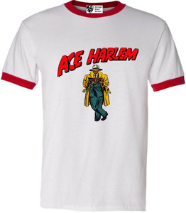 Vintage Black Heroes Men's T-Shirt - Ace Harlem - 17 - Red Ringer