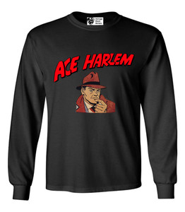 Vintage Black Heroes Men's Long Sleeved T-Shirt - Ace Harlem - 1 - Black