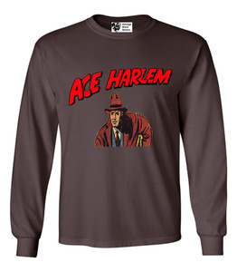 Vintage Black Heroes Men's Long Sleeved T-Shirt - Ace Harlem - 4 - Brown