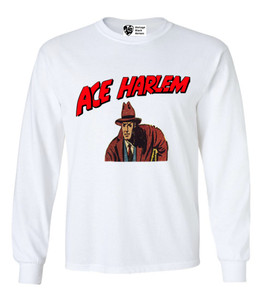 Vintage Black Heroes Men's Long Sleeved T-Shirt - Ace Harlem - 4 - White