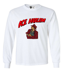Vintage Black Heroes Men's Long Sleeved T-Shirt - Ace Harlem - 8 - White