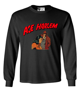 Vintage Black Heroes Men's Long Sleeved T-Shirt - Ace Harlem - 15 - Black