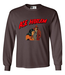 Vintage Black Heroes Men's Long Sleeved T-Shirt - Ace Harlem - 15 - Brown