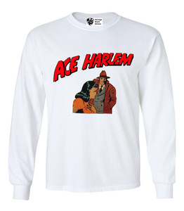 Vintage Black Heroes Men's Long Sleeved T-Shirt - Ace Harlem - 15 - White