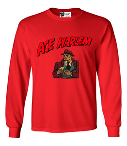 Vintage Black Heroes Men's Long Sleeved T-Shirt - Ace Harlem - 16 - Red