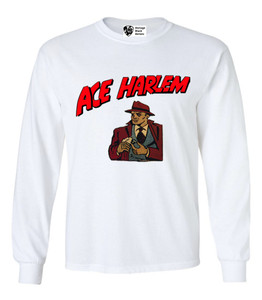 Vintage Black Heroes Men's Long Sleeved T-Shirt - Ace Harlem - 16 - White