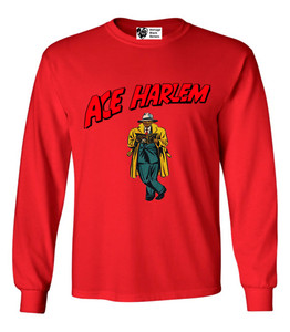 Vintage Black Heroes Men's Long Sleeved T-Shirt - Ace Harlem - 17 - Red