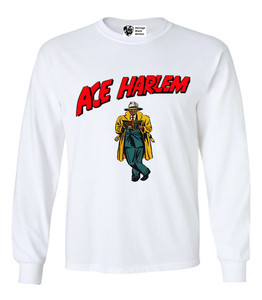 Vintage Black Heroes Men's Long Sleeved T-Shirt - Ace Harlem - 17 - White