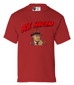 Vintage Black Heroes Boys T-Shirt - Ace Harlem - 1 - Red