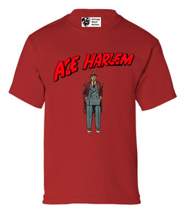 Vintage Black Heroes Boys T-Shirt - Ace Harlem - 6 - Red