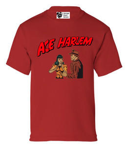 Vintage Black Heroes Boys T-Shirt - Ace Harlem - 7 - Red