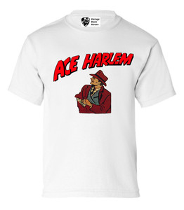 Vintage Black Heroes Boys T-Shirt - Ace Harlem - 8 - White