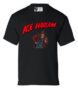 Vintage Black Heroes Boys T-Shirt - Ace Harlem - 10 - Black