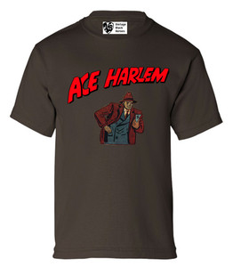 Vintage Black Heroes Boys T-Shirt - Ace Harlem - 10 - Brown