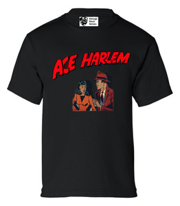 Vintage Black Heroes Boys T-Shirt - Ace Harlem - 11 - Black