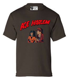 Vintage Black Heroes Boys T-Shirt - Ace Harlem - 11 - Brown
