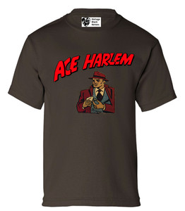 Vintage Black Heroes Boys T-Shirt - Ace Harlem - 16 - Brown