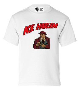 Vintage Black Heroes Boys T-Shirt - Ace Harlem - 16 - White