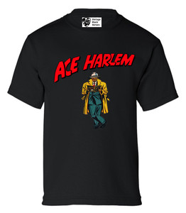 Vintage Black Heroes Boys T-Shirt - Ace Harlem - 17 - Black