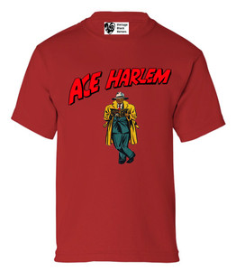 Vintage Black Heroes Boys T-Shirt - Ace Harlem - 17 - Red