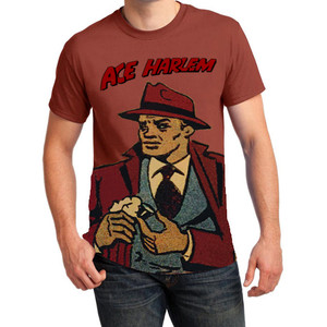 Vintage Black Heroes Men's T-Shirt - Ace Harlem - 16 - Rusty Bronze