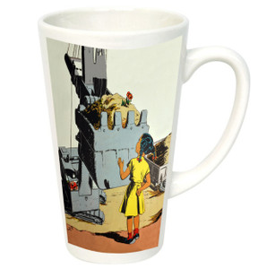 Afrotopia 17 oz. Latte Mug - Vintage Girl In Yellow