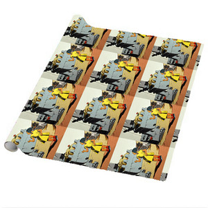 Afrotopia Wrapping Paper Sheets - Vintage Girl In Yellow - Package Of 5