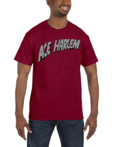 Vintage Black Heroes Men's T-Shirt - Ace Harlem - Logo - Red