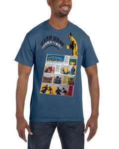 Vintage Black Heroes Men's T-Shirt - Mark Hunt - Comic 9B - Indigo