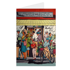 Afrotopia Greeting Cards - Vintage Flower Shop
