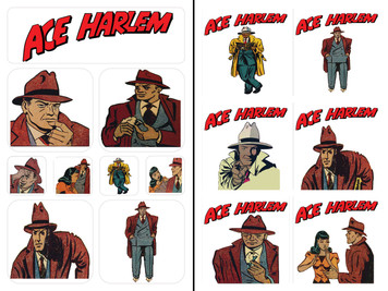 Vintage Black Heroes Sticker Sheet Set - Ace Harlem - 2