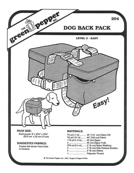 Sewing Pattern - Craft Pattern, Pet Pattern, Dog Back Pack, Green Pepper Patterns