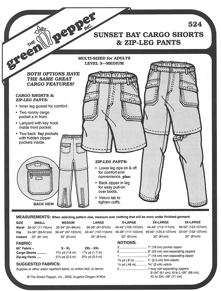 Sewing Pattern - Unisex Pattern, Zip Leg Cargo Pants and Shorts ...