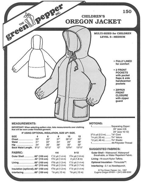 Sewing Pattern - Children's Oregon Jacket, Jacket Pattern for Children by Green Pepper Patterns
