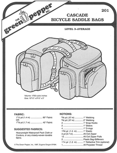 Sewing Pattern - Cascade Bicycle Saddle Bags, Bicycle Bag Pattern, Green Pepper Patterns