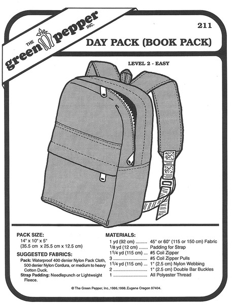 Sewing Pattern - Book Bag Pattern, Travel Bag Pattern, Day Pack Pattern, Green Pepper Patterns