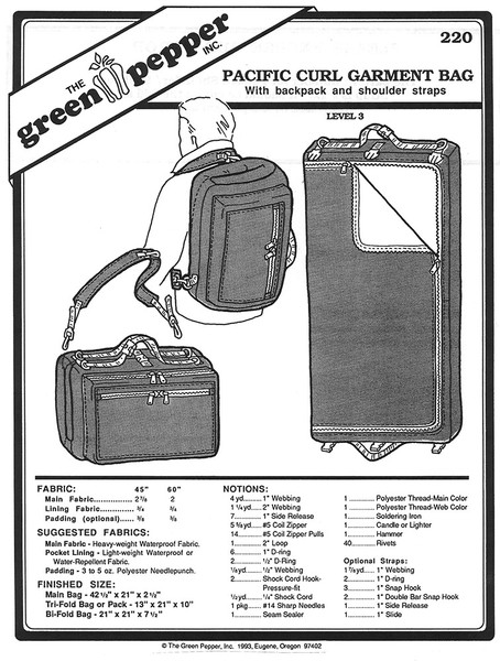 Sewing Pattern - Pacific Curl Garment Bag Pattern, Green Pepper Patterns