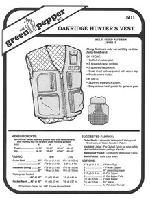 Sewing Pattern - Adults Oakridge Hunting Vest, Vest Pattern Green Pepper Patterns